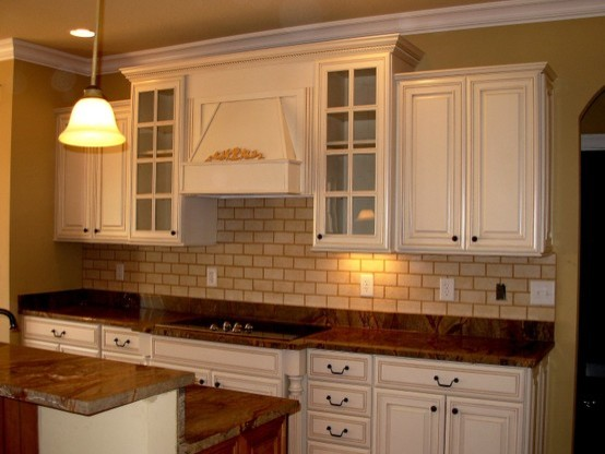 Painted distressed kitchen cabinets traditional for Distressed kitchen cabinets