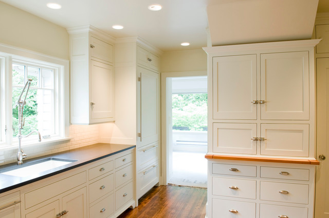 Painted Flush inset Kitchen Cabinets traditional-kitchen