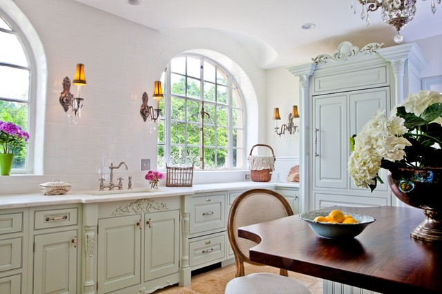 Painted Green Kitchen Renovation St. Louis, MO - Shabby-Chic-Style ...