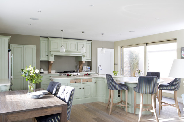 In Frame Kitchen In Sage Green with Lime Oak traditional kitchen