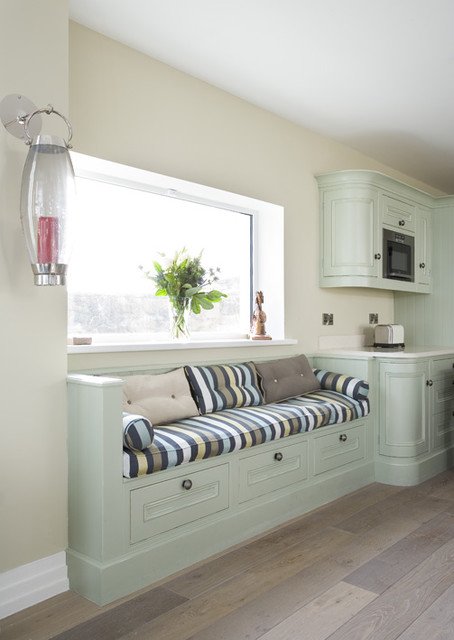 Painted In Frame Kitchen In Sage Green With Lime Oak