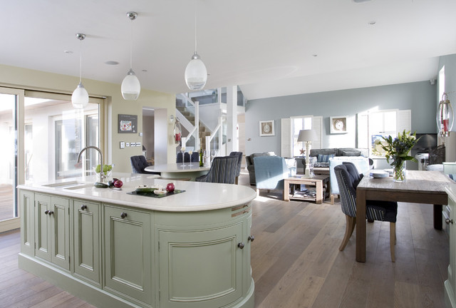 painted in frame kitchen in sage green with lime oak traditional kitchen - Sage Kitchen