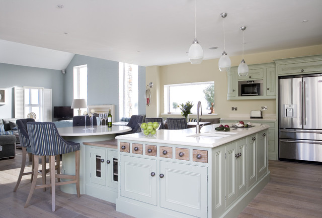 Painted In Frame Kitchen In Sage Green with Lime Oak traditional kitchen