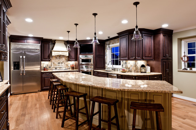 Painted Island For Large Family Traditional Kitchen