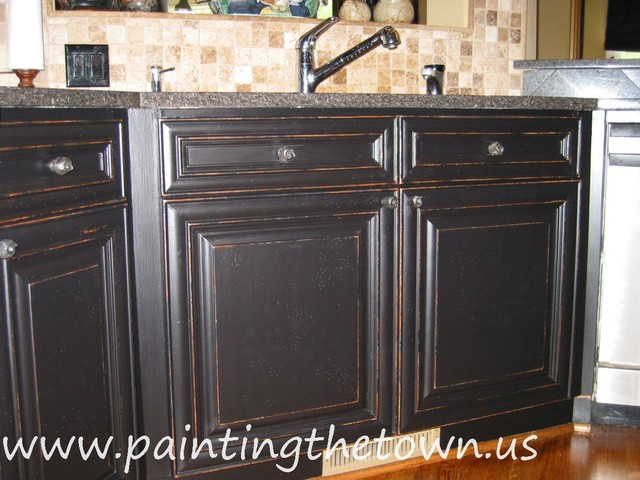 how to paint bathroom cabinets black painted kitchen cabinets mediterranean kitchen 17177
