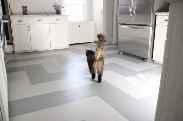 Painted Kitchen Vinyl Floor Eclectic Kitchen Richmond By