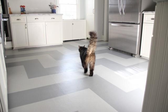painted kitchen vinyl floor eclectic kitchen - Kitchens With Vinyl Flooring