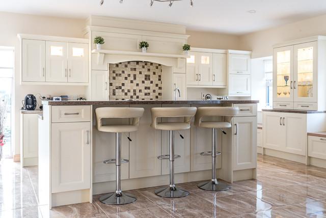 Painted Kitchen with Range Surround transitional-kitchen