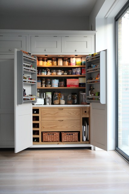 Painted Larder with Oak Interior - Traditional - Kitchen - london - by Higham Furniture