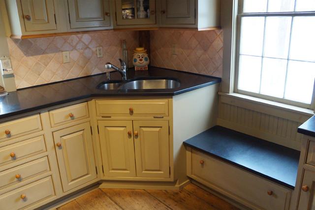 Painted Sage Green Caramel Sandthrough Kitchen Rustic Kitchen