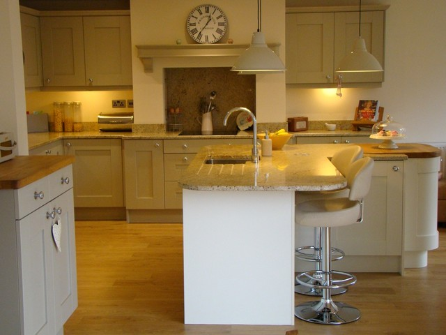 Painted Shaker Kitchen With Central Island Eclectic Kitchen Other By Kitchenflair Preston