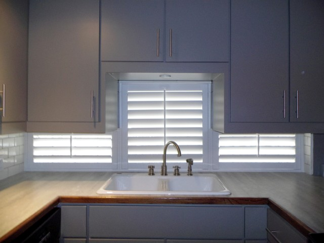 Painted shutters under kitchen cabinets for Window under kitchen cabinets
