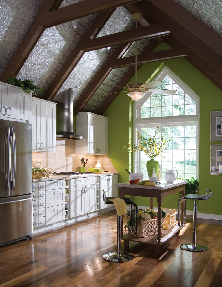 Painted Tin Ceiling Tiles In A Rustic Farmhouse Kitchen Farmhouse Kitchen Other By Armstrong Ceilings For The Home