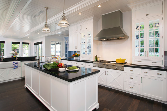Painted White and Periwinkle Kitchen - Transitional ...