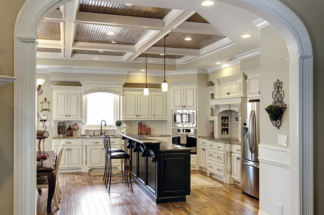 White And Black Traditional Kitchen painted white cabinets with glazing and painted black island