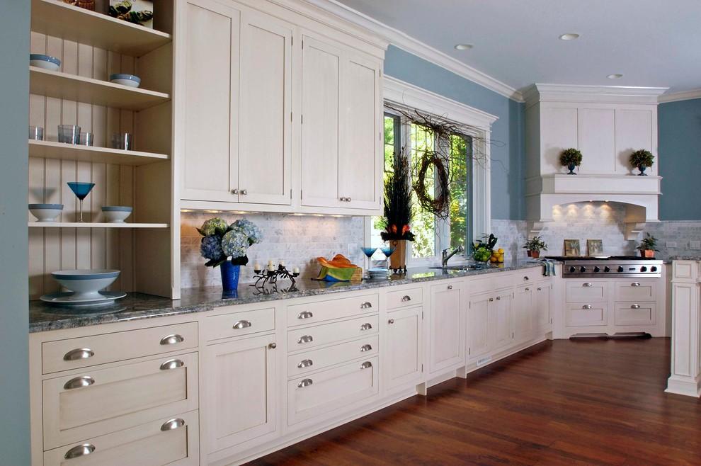 Painted White Shaker Style Brookhaven Kitchen  Statutory Marble Tile Backsplash