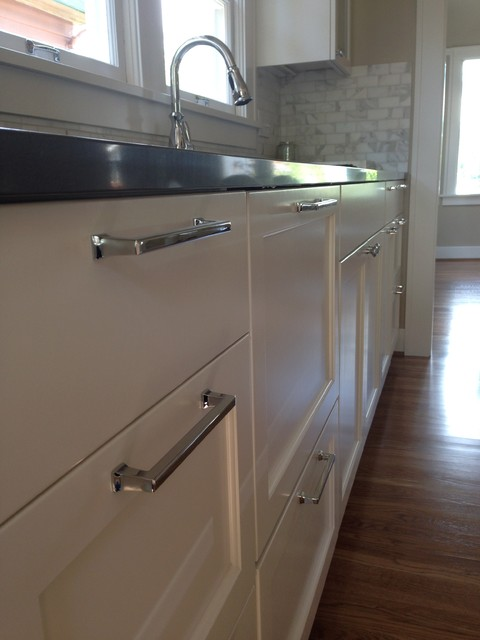Countertop Dishwasher In Cabinet : Painted wood cabinets, two drawer dishwasher and quartz countertop ...
