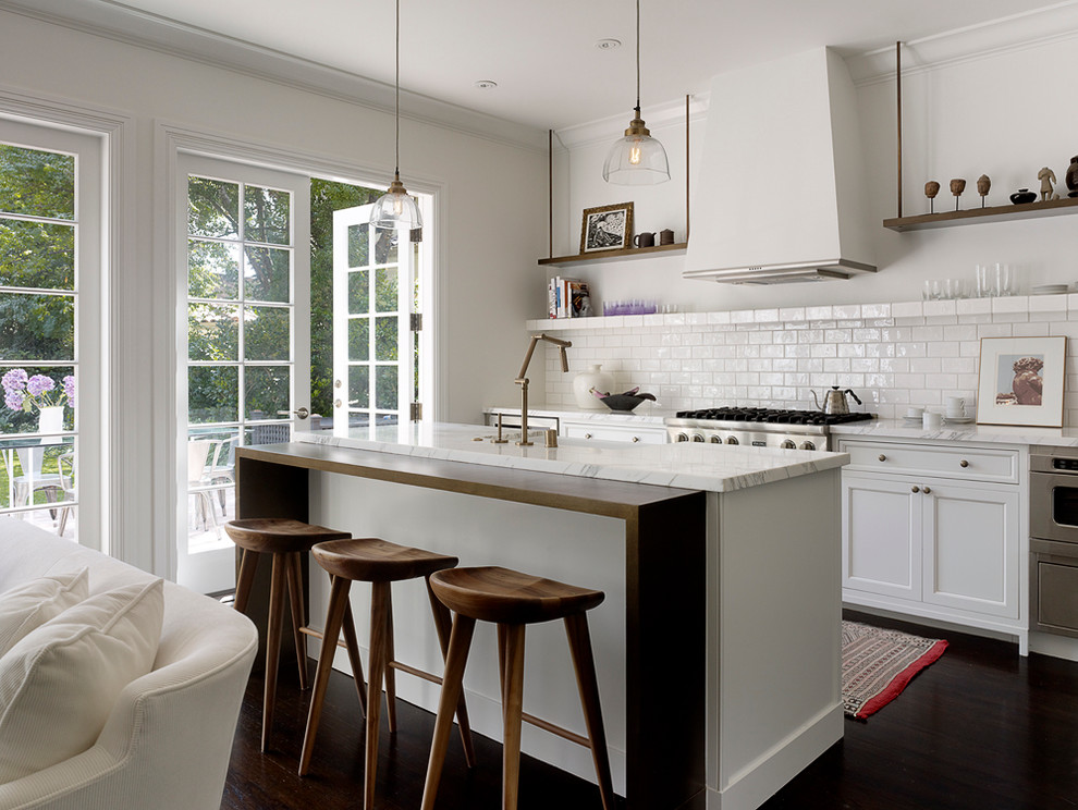 Transitional open concept kitchen photo in San Francisco with recessed-panel cabinets, white cabinets, white backsplash and subway tile backsplash