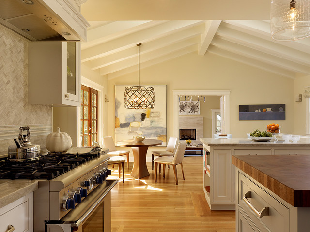 eat in kitchen large transitional u shaped medium tone wood floor and brown
