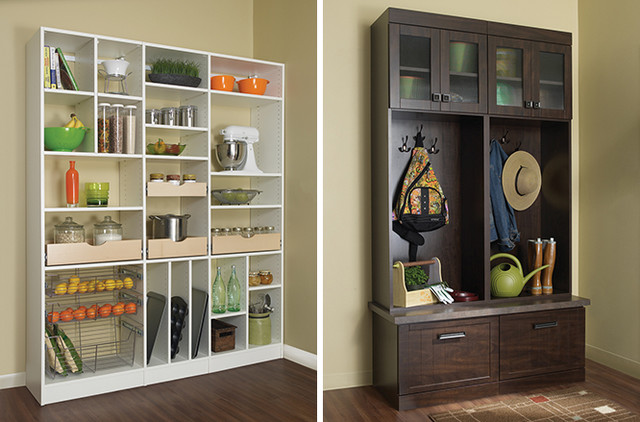 Pantry storage shelves and mud room cabinet