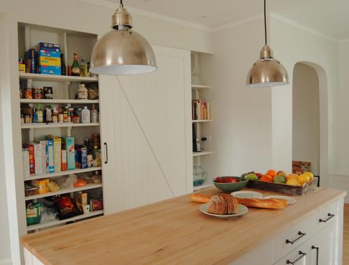 Pantry with barn door eclectic kitchen