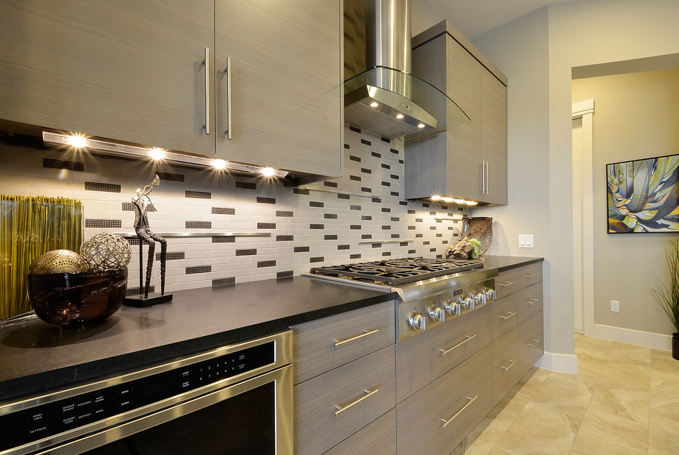 Inspiration for a contemporary kitchen remodel in Austin with stainless steel appliances