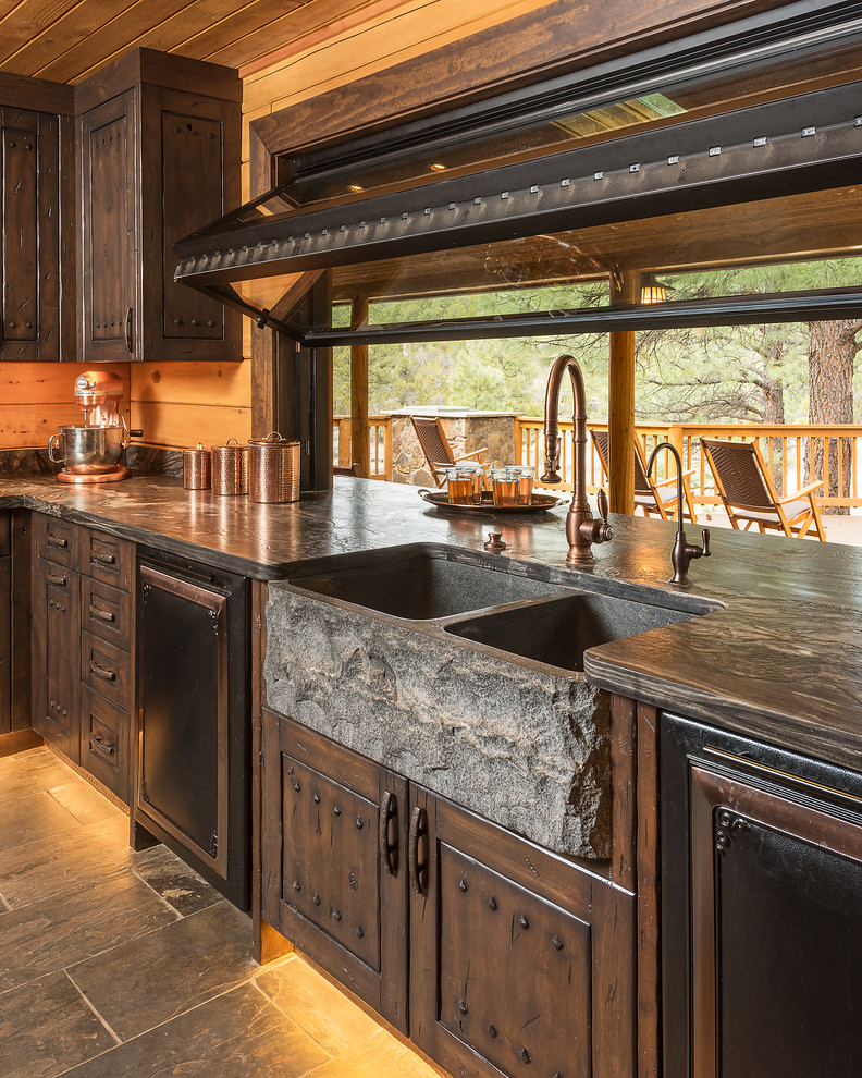 Paradise in the Pines - Rustic - Kitchen - Phoenix - by Red Rock Pools and Spas and Red Rock ...