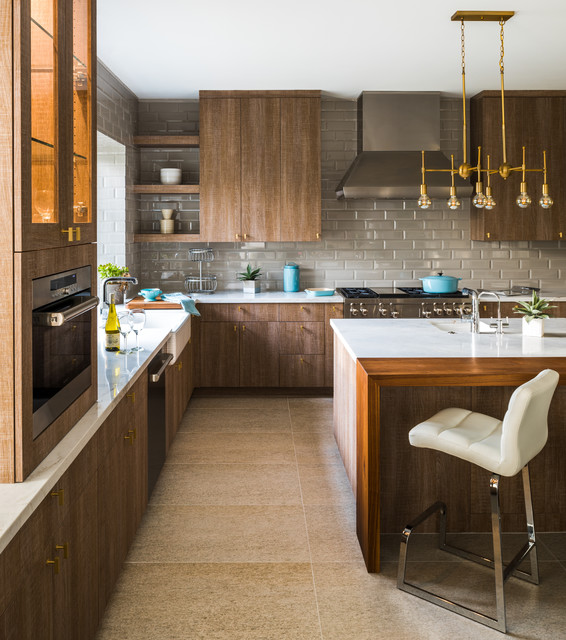 Inspiration For A Contemporary L Shaped Beige Floor Kitchen Remodel In  Phoenix With A Farmhouse
