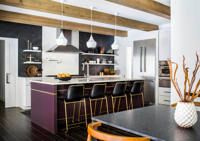 Kitchen Of The Week Black White And A Splash Of Plum