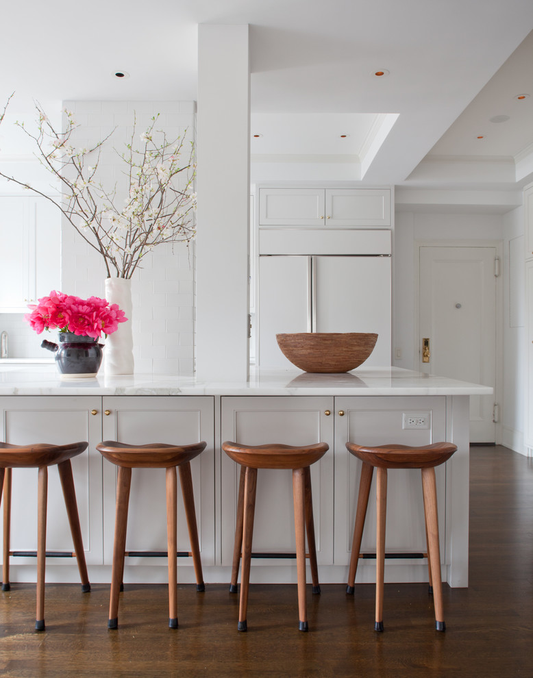 Transitional kitchen photo in New York with shaker cabinets