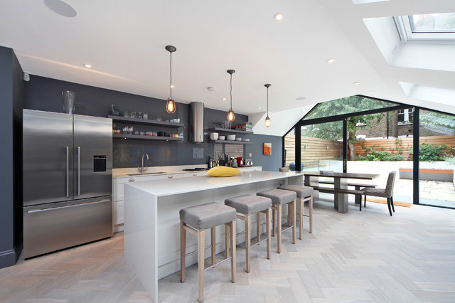 Parsons Green. Herringbone in colour Thistle contemporary-kitchen