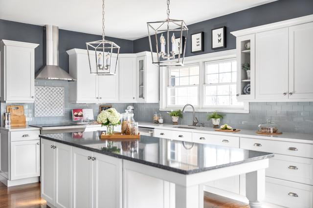 Houzz & Parys Swanbridge Over White Satin - Transitional - Kitchen - Other ...