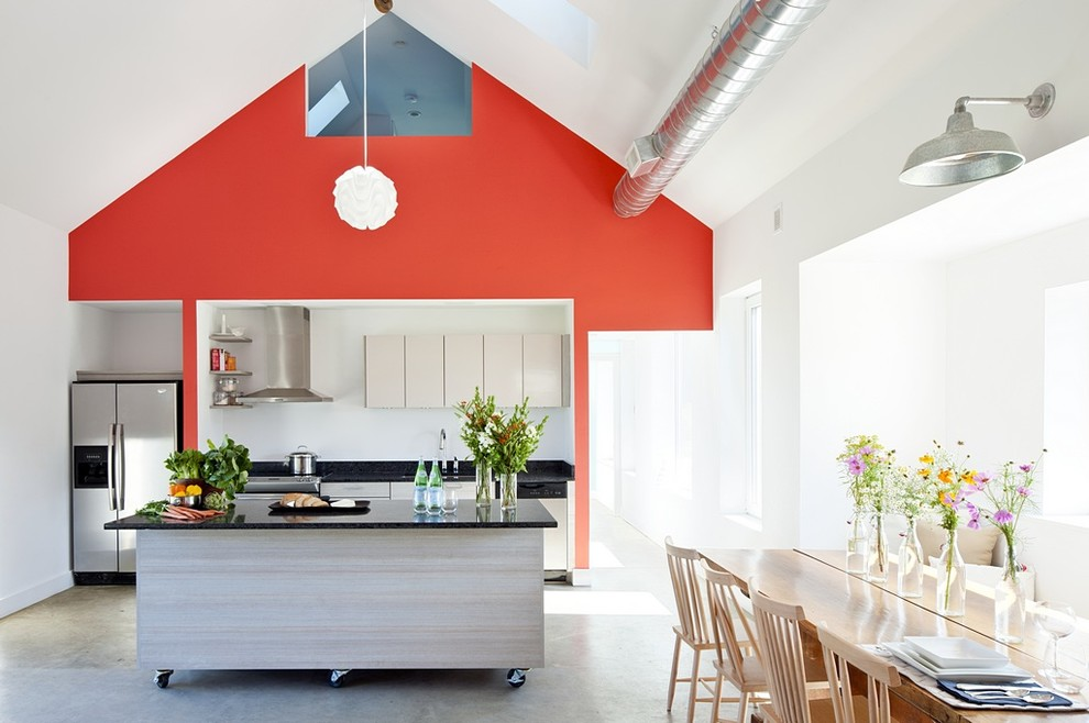 Farmhouse single-wall eat-in kitchen photo in Providence with quartz countertops