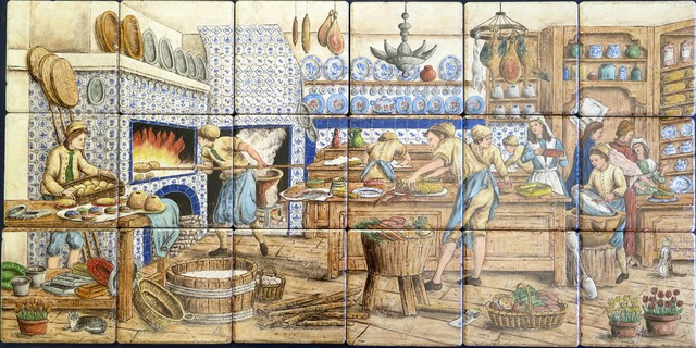 Pat 39 s dutch delft diderot tile mural backsplash for Delft tile mural