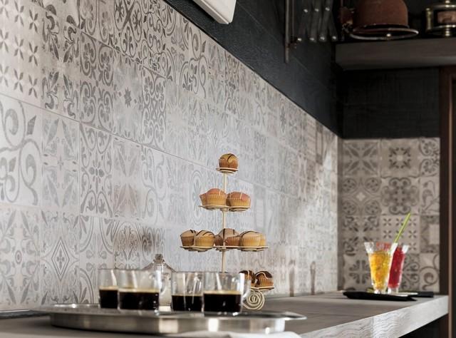 Patterned Feature Tiles Antique Acero Contemporary Kitchen Perth By Ceramo Tiles Houzz Au