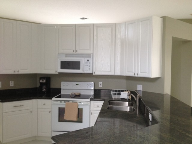 Paula and frank 39 s kitchen reface white thermofoil with for White wood grain kitchen cabinets
