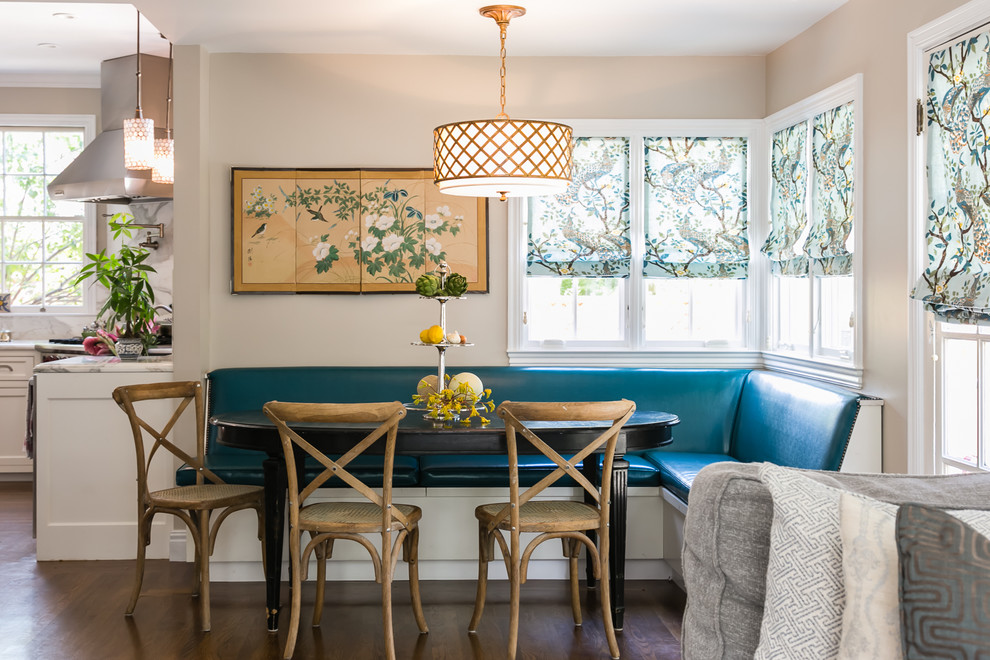 Traditional kitchen/diner in San Francisco with recessed-panel cabinets and white cabinets.