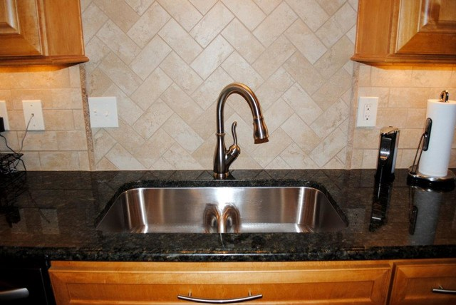 peacock granite, tile backsplash, smartdivide stainless sink