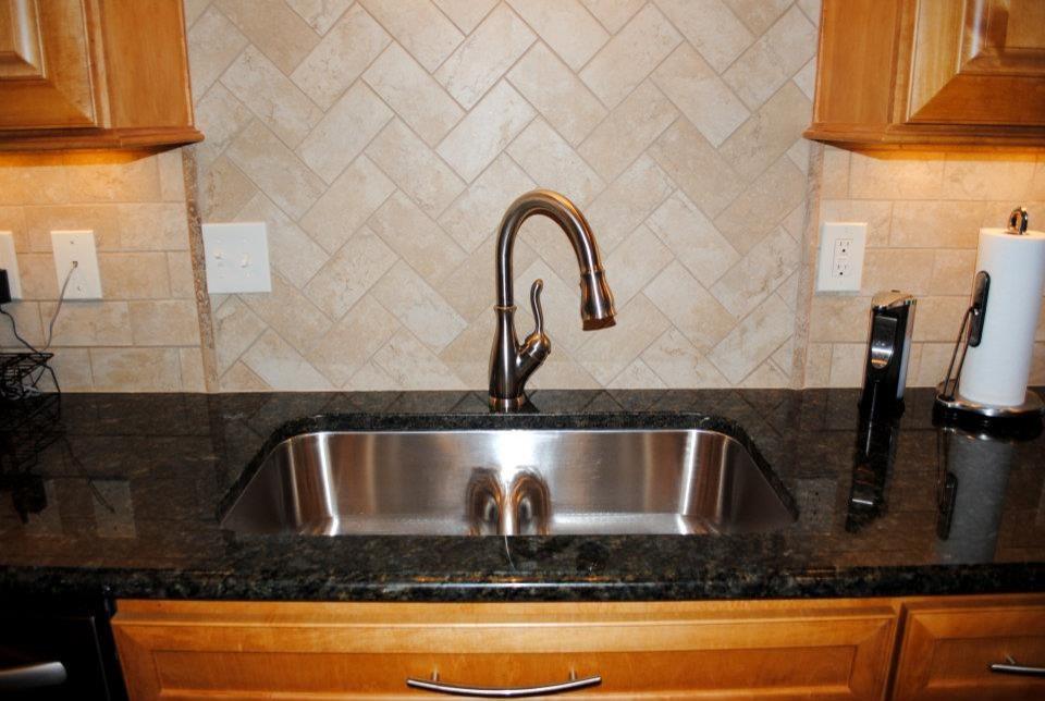 Peacock Granite Tile Backsplash Smartdivide Stainless Sink Traditional Kitchen Other By Hatchett Design Remodel