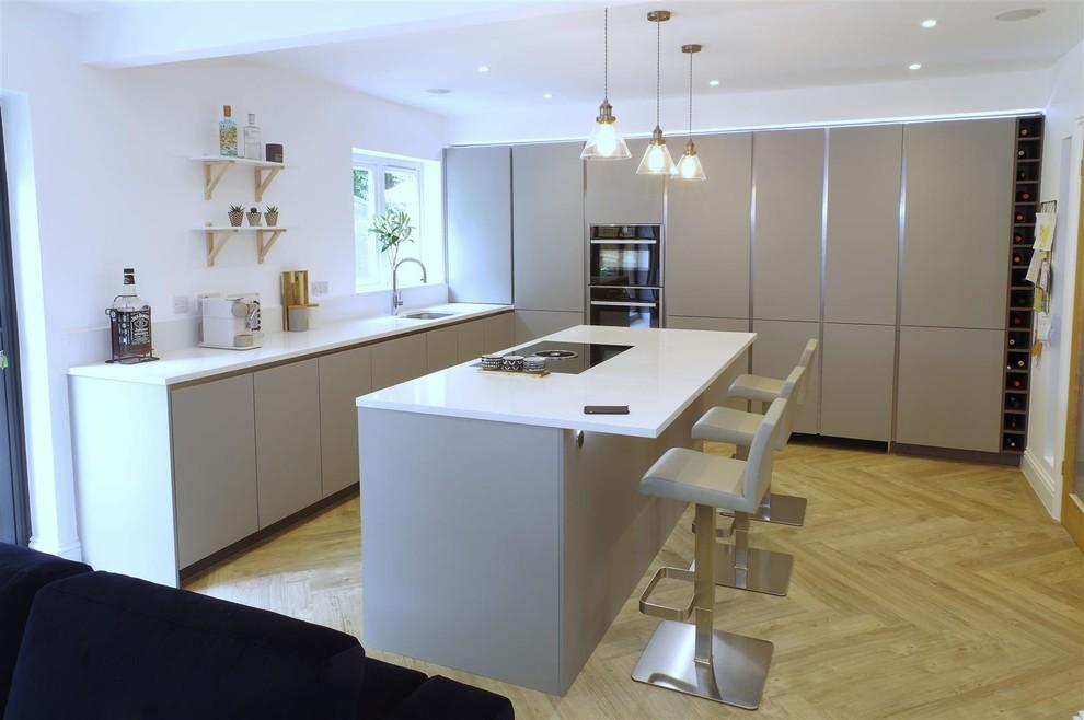 Pearl Grey Kitchen With Miami White Island And Hidden Door Scandinavian Kitchen Kent By Ptc Kitchens