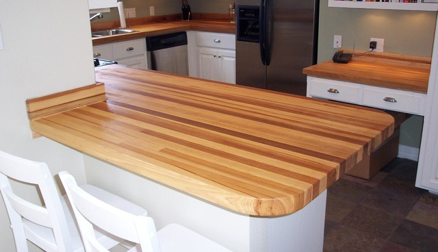 Perfect Pecan / Hickory Butcher Block Counter Tops Contemporary Kitchen