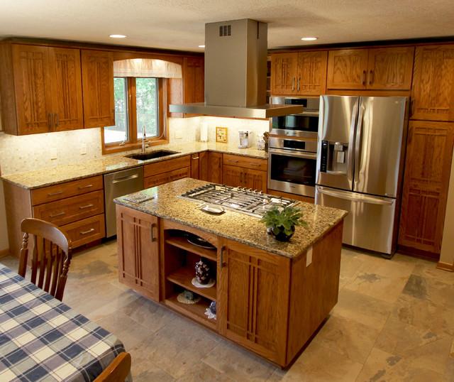 Ohio Kitchen Cabinets: Pecan Mission Style Cabinets With Quartz Countertop
