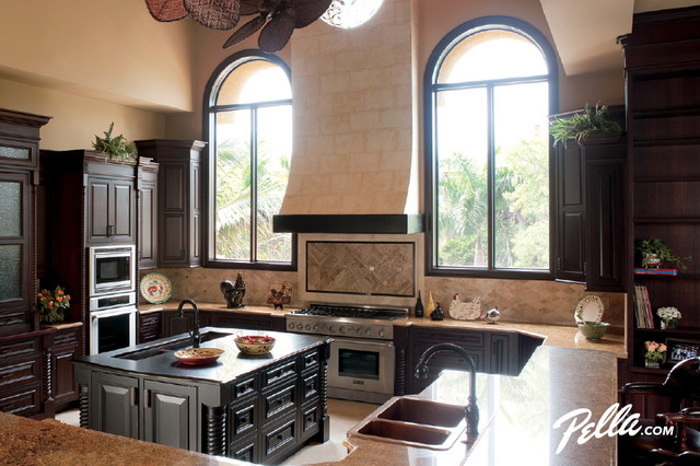 Pella® Architect Series® circle head windows convey architectural character traditional-kitchen