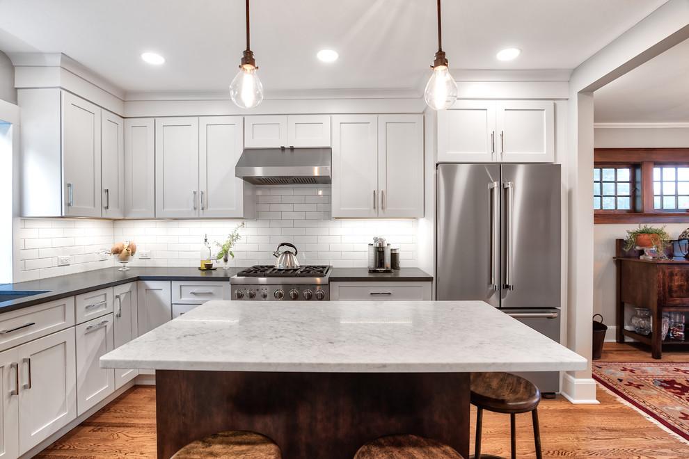 Pendant Lights Over The Kitchen Island Farmhouse Kitchen New York By Kraftmaster Renovations