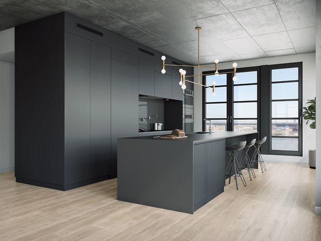 Penthouse gallery loft minimalistisch küche montreal von