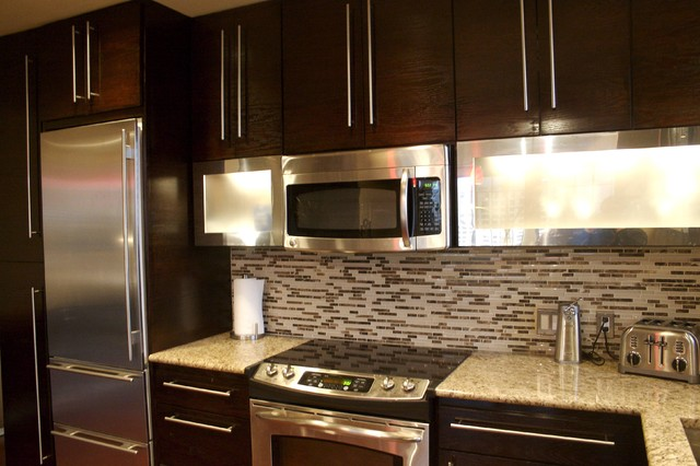 Penthouse kitchen for Chocolate brown cabinets