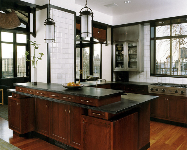 Penthouse Kitchen With Custom Cherry Cabinets