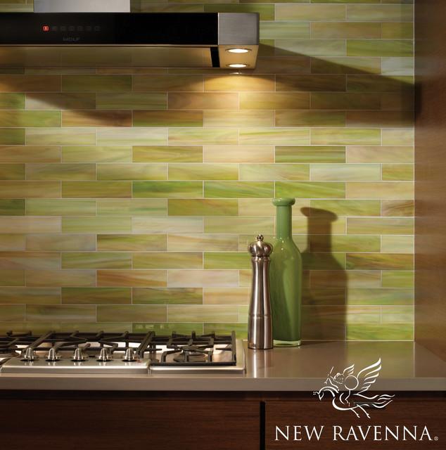 Peridot Brick Backsplash Contemporary-kitchen