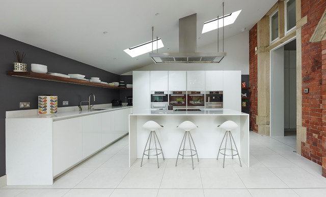 Leeds Contemporary Handle Less Kitchen Industrial Kitchen Other By Grid Thirteen Luxury