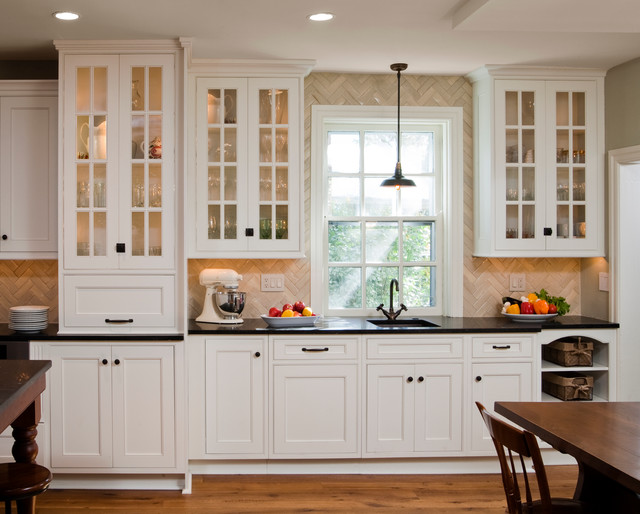 Traditional Kitchen Idea In Philadelphia With Beaded Inset Cabinets White Limestone Countertops